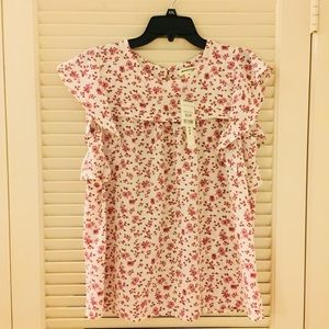 NWT Floral Blouse with Butterfly Capsleeves XLJ